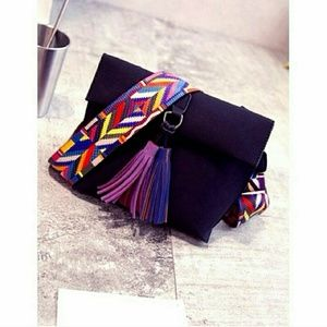 Handbags - Saddle Tassel Crossbody Bag, Black